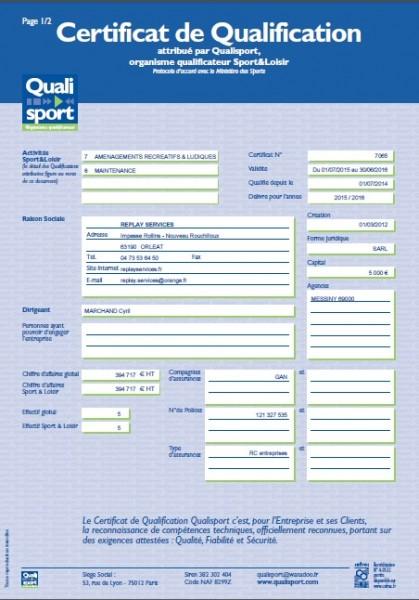 Certificat de qualification Replay Services